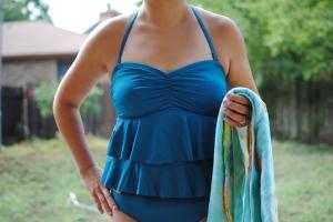 downeast blue ruffle modest swim suit