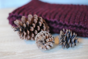chunky hand knit scarf maroon charity