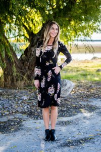 dark floral dress empire waist with pockets