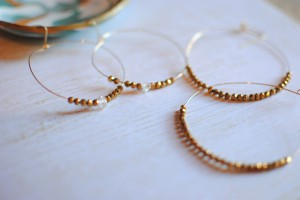 gold seed bead wire hoop earrings herkimer diamond