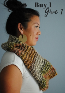 buy 1 give 1 infinity scarves charity homeless refugee shelters